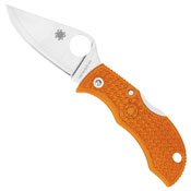 Spyderco Manbug Key Ring Knife  With Satin Plain Blade And Burnt Orange FRN Handles Sprint Run