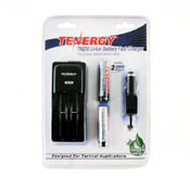 Tenergy Li-ion 2600mAh Protected Button Top Batteries W/Smart Charger