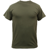 Mens Solid Color Polycotton Military T-Shirt